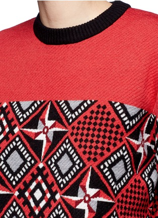 Detail View - Click To Enlarge - Cynthia & Xiao - Geometric windmill intarsia sweater