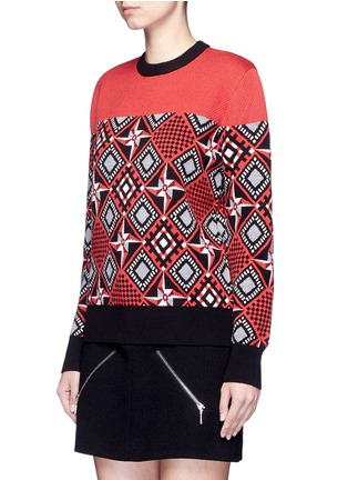 Front View - Click To Enlarge - Cynthia & Xiao - Geometric windmill intarsia sweater