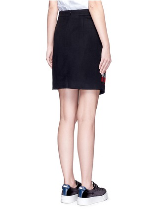 Back View - Click To Enlarge - Cynthia & Xiao - Textured tartan asymmetric wool cashmere blend skirt