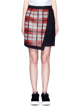 Main View - Click To Enlarge - Cynthia & Xiao - Textured tartan asymmetric wool cashmere blend skirt