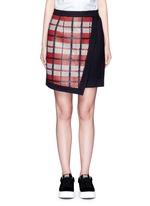 Textured tartan asymmetric wool cashmere blend skirt