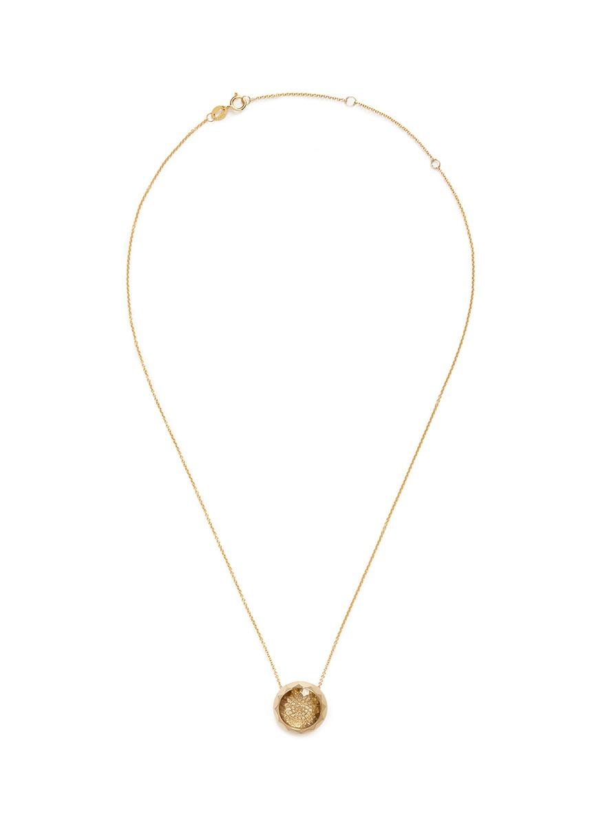 Evolution Of Rock diamond quartz 18k yellow gold necklace by Lama Hourani Jewelry