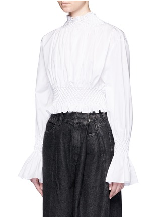 Front View - Click To Enlarge - KENZO - Diamond corrugated cropped top