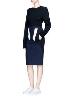 Neil BarrettColourblock wool blend melton pencil skirt