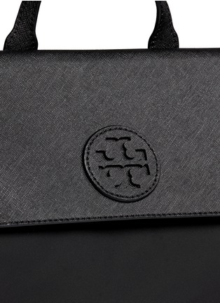 Detail View - Click To Enlarge - Tory Burch - 'Ella' packable saffiano leather flap nylon backpack