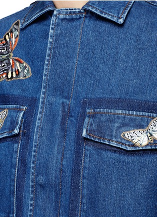 Detail View - Click To Enlarge - Valentino - Embroidered butterfly appliqué denim shirt jacket