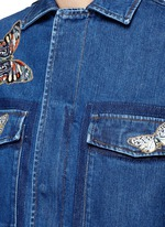 Embroidered butterfly appliqué denim shirt jacket