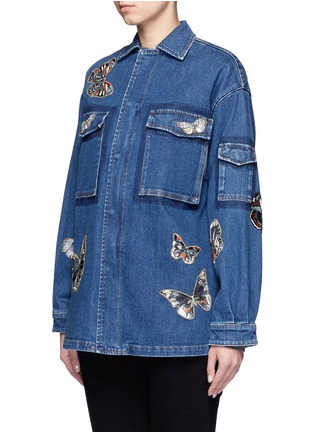 Front View - Click To Enlarge - Valentino - Embroidered butterfly appliqué denim shirt jacket