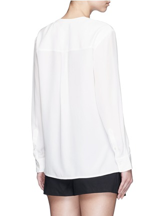 Back View - Click To Enlarge - Theory - 'Damaris' banded collar utility silk shirt
