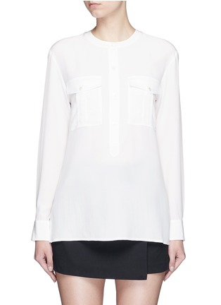 Main View - Click To Enlarge - Theory - 'Damaris' banded collar utility silk shirt