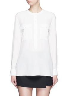 THEORY'Damaris' banded collar utility silk shirt