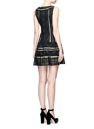 Back View - Click To Enlarge - alice + olivia - 'Wendie' geometric embroidery boat neck dress
