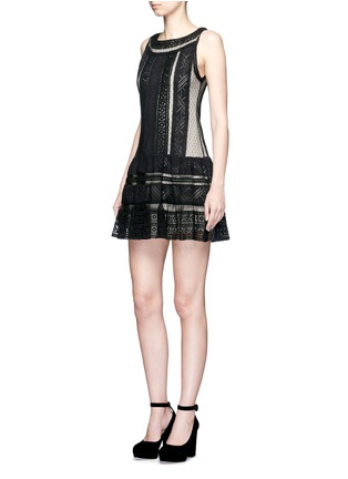 alice + olivia - 'Wendie' geometric embroidery boat neck dress