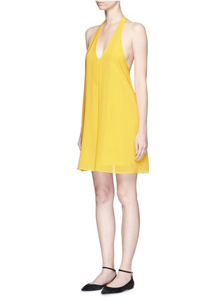 Front View - Click To Enlarge - alice + olivia - 'Holland' plunge neck T-back silk dress