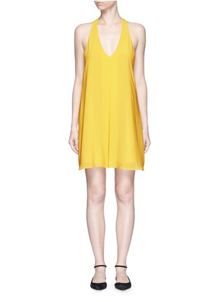 Main View - Click To Enlarge - alice + olivia - 'Holland' plunge neck T-back silk dress