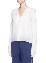 Knit squiggle silk georgette cardigan