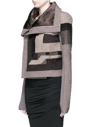 正面 - 点击放大 - RICK OWENS - 拼色补丁设计混羊毛夹克