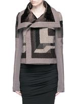 拼色补丁设计混羊毛夹克
