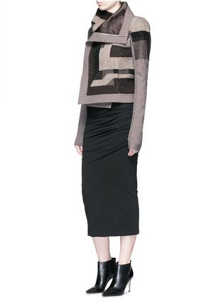 模特示范图 - 点击放大 - RICK OWENS - 拼色补丁设计混羊毛夹克