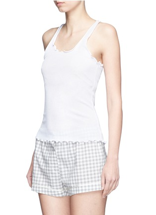 Front View - Click To Enlarge - Araks - Ruffle cotton rib jersey tank top