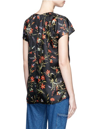 Back View - Click To Enlarge - Balenciaga - Floral print silk twill top