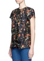 Floral print silk twill top