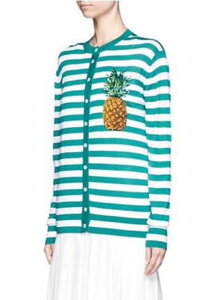 正面 -点击放大 - DOLCE & GABBANA - 菠萝缀饰羊绒混丝条纹针织衫