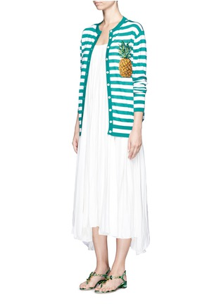 模特儿示范图 - 点击放大 - DOLCE & GABBANA - 菠萝缀饰羊绒混丝条纹针织衫