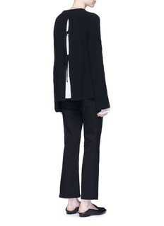 Helmut LangBelted open back cotton-cashmere sweater