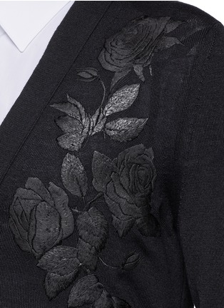 Detail View - Click To Enlarge - Alexander McQueen - Waxed floral embroidery wool-silk cardigan