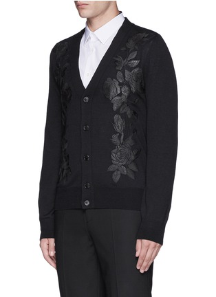 Front View - Click To Enlarge - Alexander McQueen - Waxed floral embroidery wool-silk cardigan