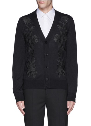 Main View - Click To Enlarge - Alexander McQueen - Waxed floral embroidery wool-silk cardigan