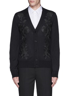 Alexander McQueen Waxed floral embroidery wool-silk cardigan