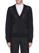 Waxed floral embroidery wool-silk cardigan