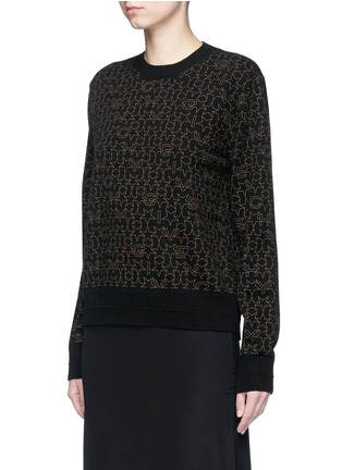 Front View - Click To Enlarge - Givenchy Beauty - Star logo print wool-cashmere sweater