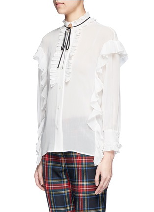 Front View - Click To Enlarge - Gucci - Ribbon neck ruffle voile shirt