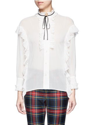 Main View - Click To Enlarge - Gucci - Ribbon neck ruffle voile shirt