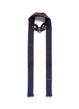Main View - Click To Enlarge - Lanvin - Jewelled foulard print tie neck silk scarf