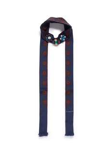 Lanvin Jewelled foulard print tie neck silk scarf