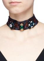 Jewelled foulard print tie neck silk scarf