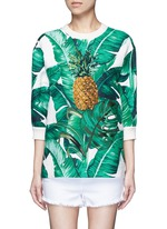 Pineapple embroidery leaf print brocade top