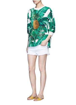 Figure View - Click To Enlarge - Dolce & Gabbana - Pineapple embroidery leaf print brocade top