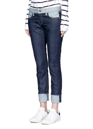 Front View - Click To Enlarge - rag & bone/JEAN - 'The Dre' reverse patchwork slim boyfriend jeans