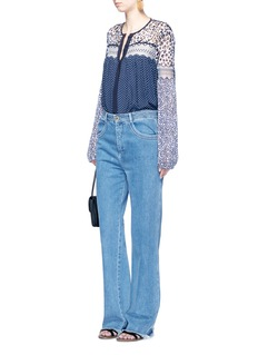 Chloé Mix polka dot lace yoke blouse