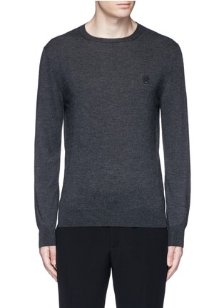 Main View - Click To Enlarge - Alexander McQueen - Skull embroidery cashmere sweater