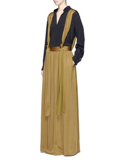 Lanvin Knotted suspender crepe maxi skirt