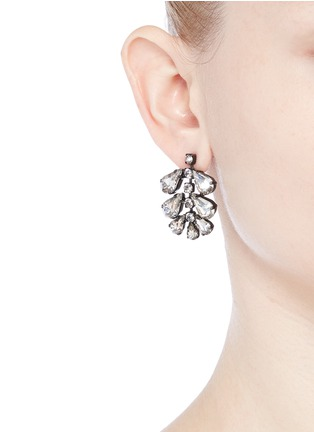 Figure View - Click To Enlarge - Erickson Beamon - 'Frequent Flyer' Swarovski crystal teardrop cluster earrings