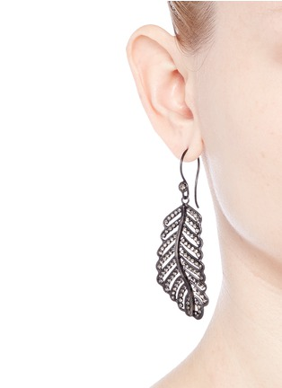 Figure View - Click To Enlarge - Erickson Beamon - 'Frequent Flyer' Swarovski crystal pavé feather earrings