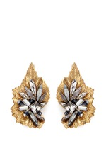 'Milky Way' 24k gold plated brass Swarovski crystal leaf earrings