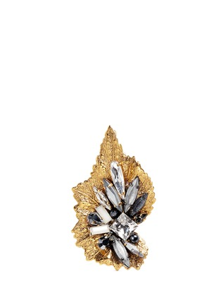 Erickson Beamon - 'Milky Way' 24k gold plated brass Swarovski crystal leaf ring